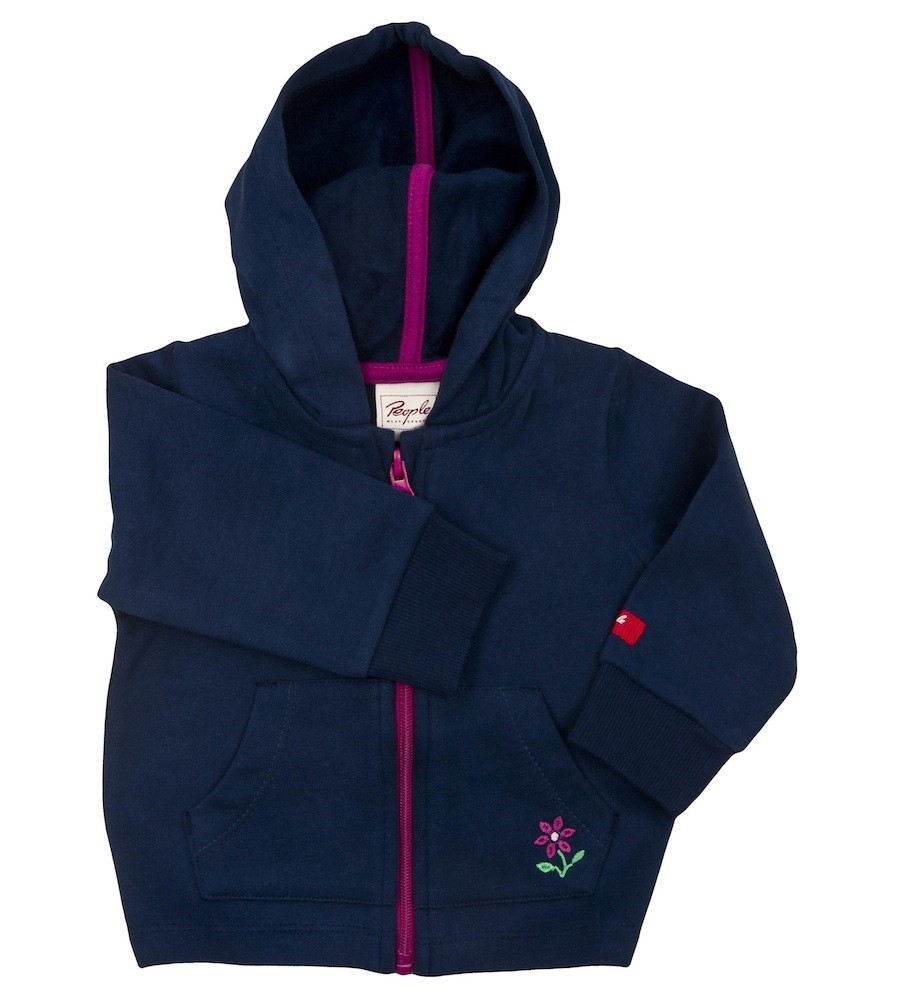People Wear Organic Baby Sweatjacke mit Kapuze blau Bio Baumwolle People Wear Organic 62 / 68