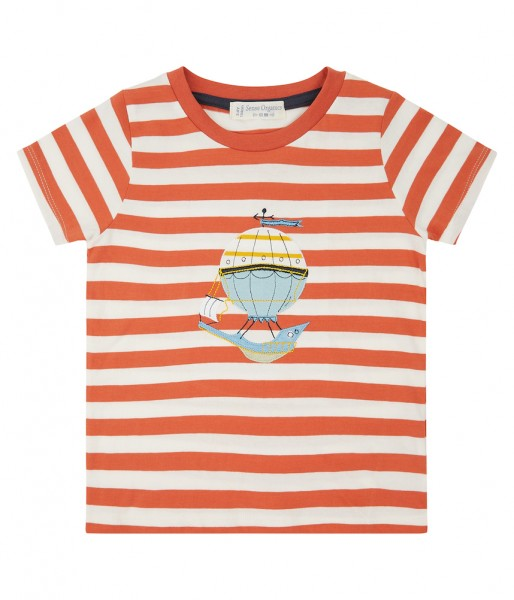 Kinder T-Shirt Orange Gestreift Ballon Biologisch Sense Organics_1.jpg